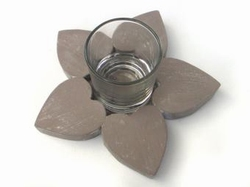 Waxh.bloem/hart + glas taup